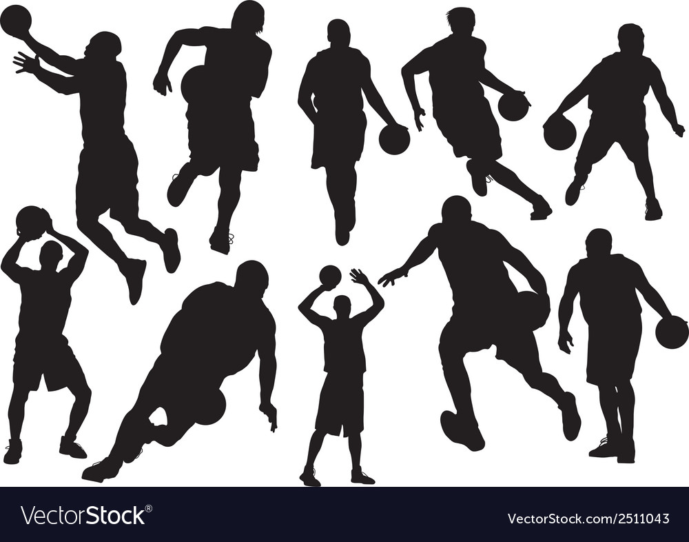 Silhouettes of basketball