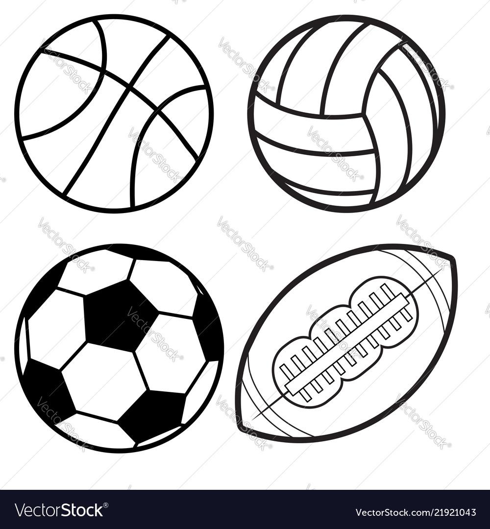 Sports balls minimal flat line icon set soccer