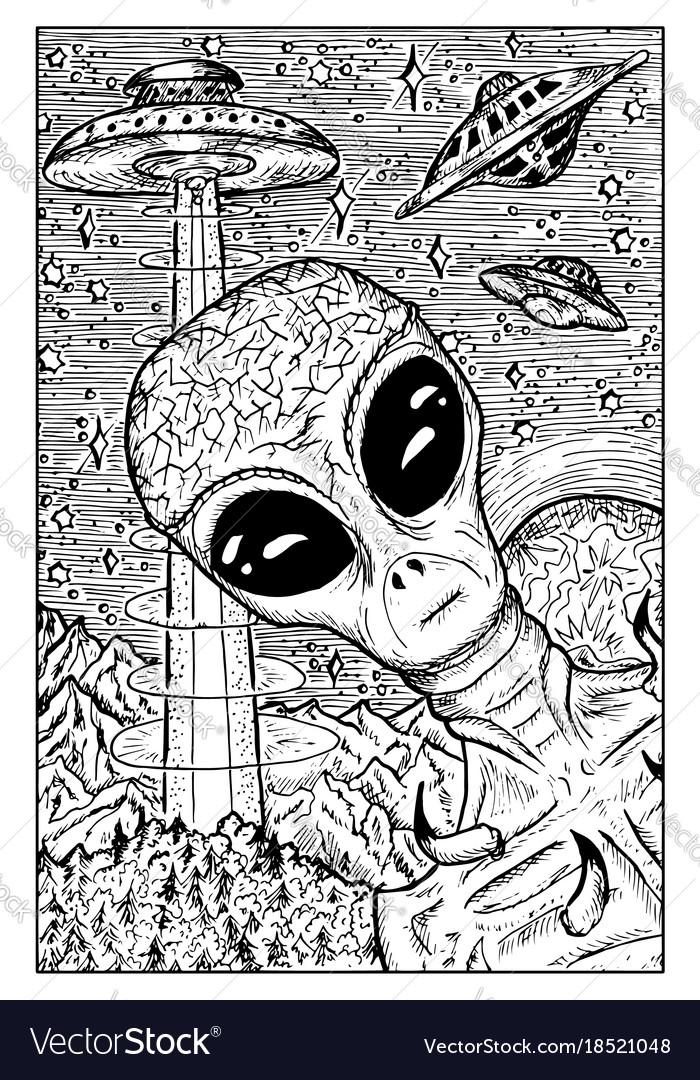 Alien and ufo concept