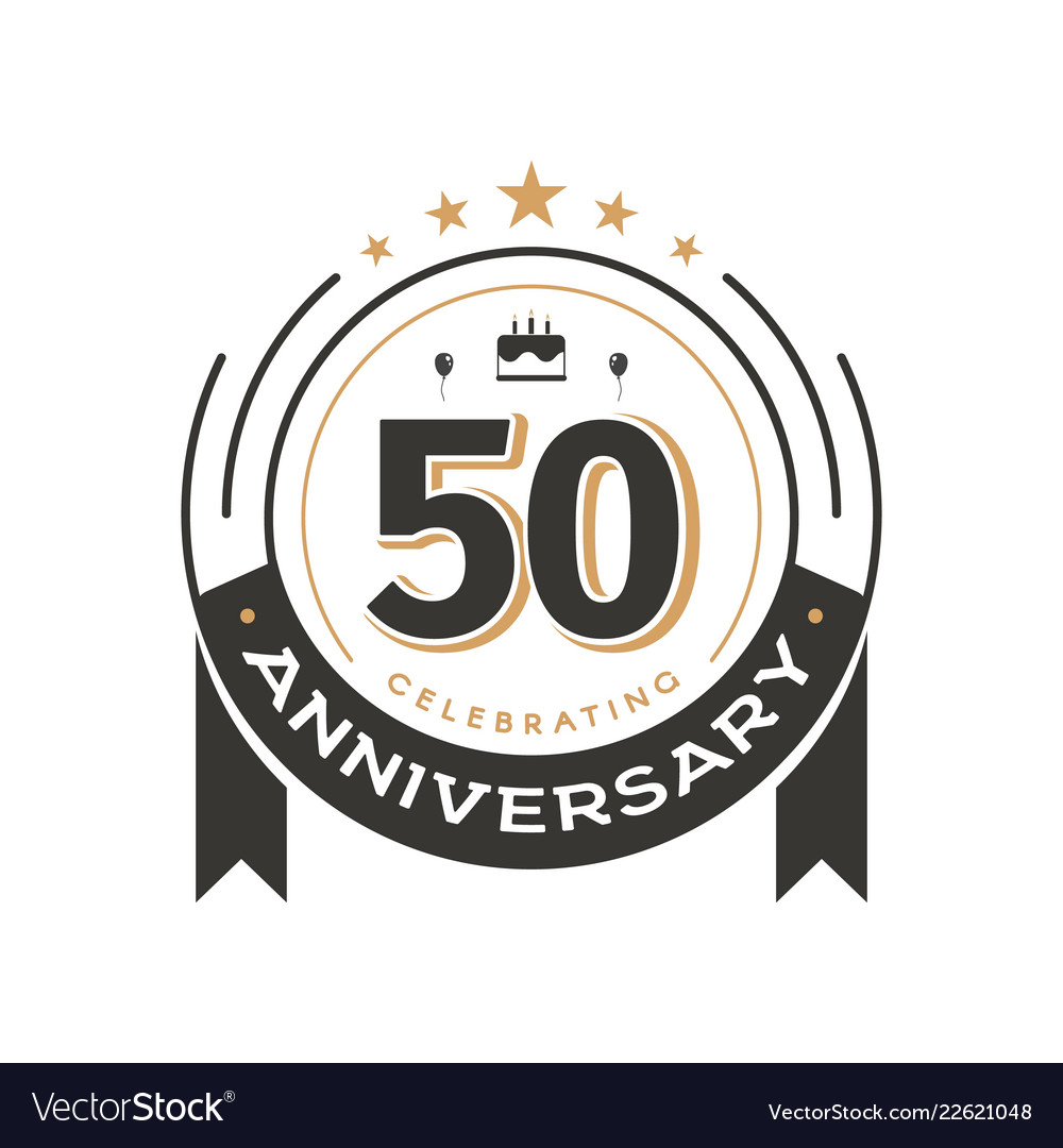 Birtday vintage logo template to 50th anniversary