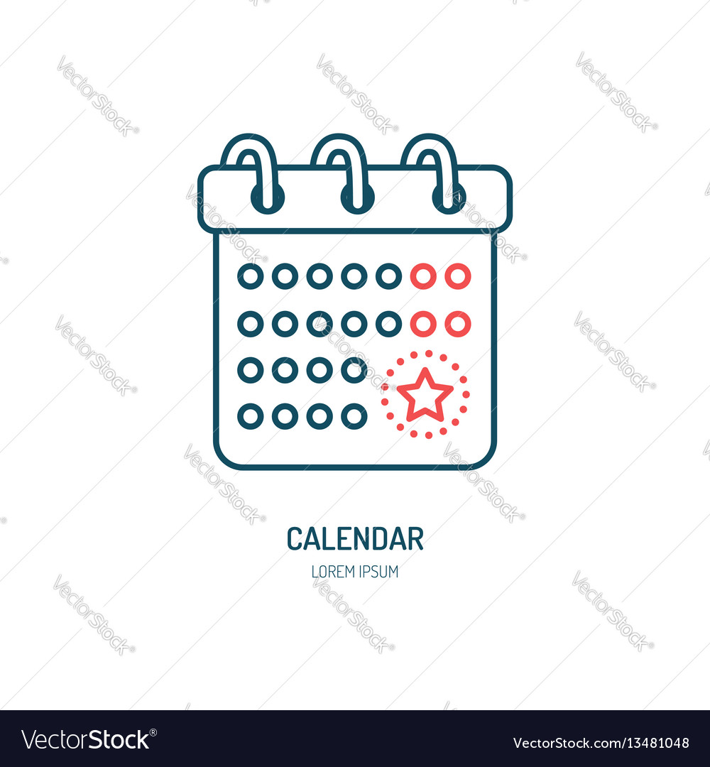 Calendar line icon logo for event vector image