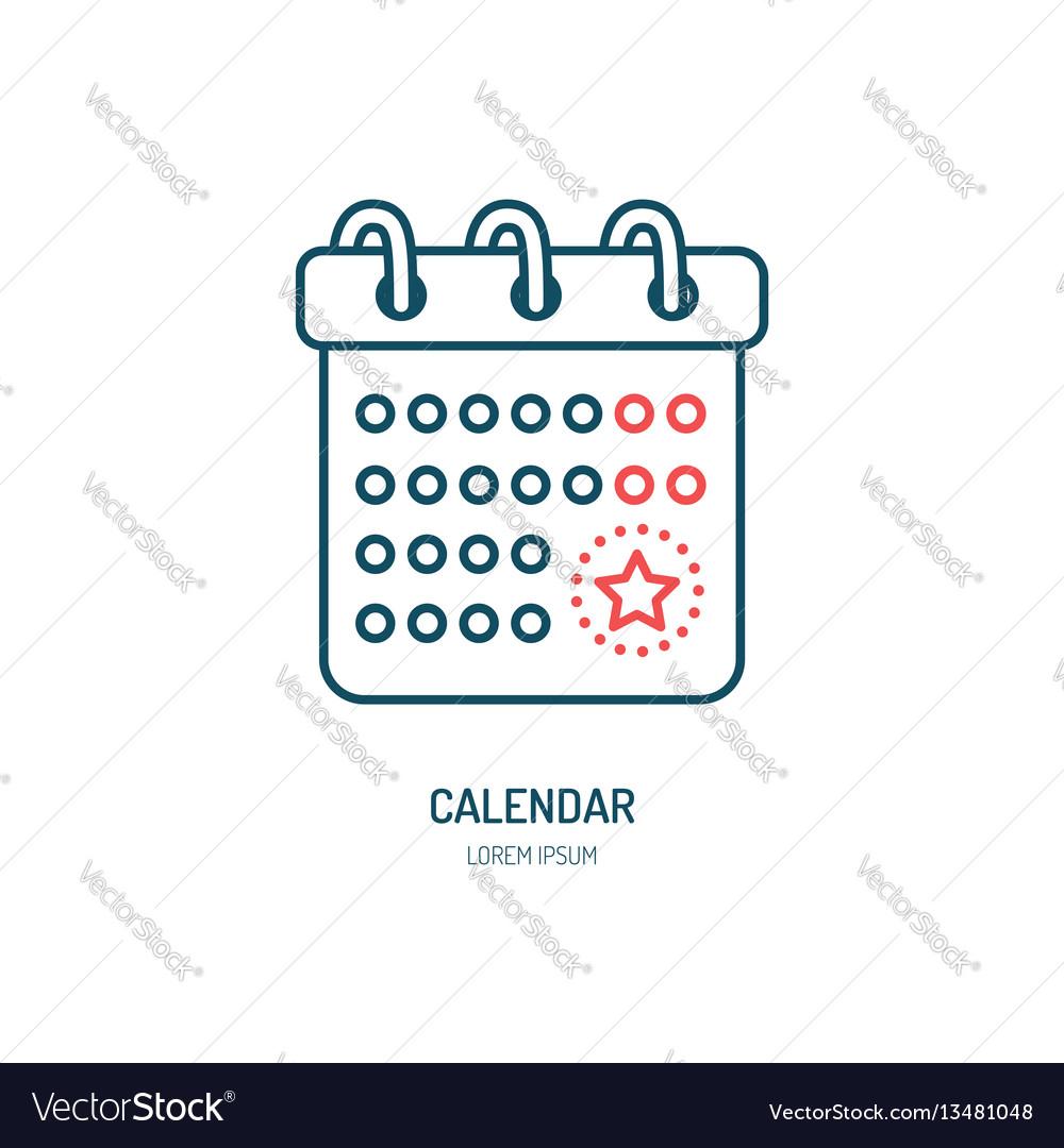 Calendar line icon logo for event