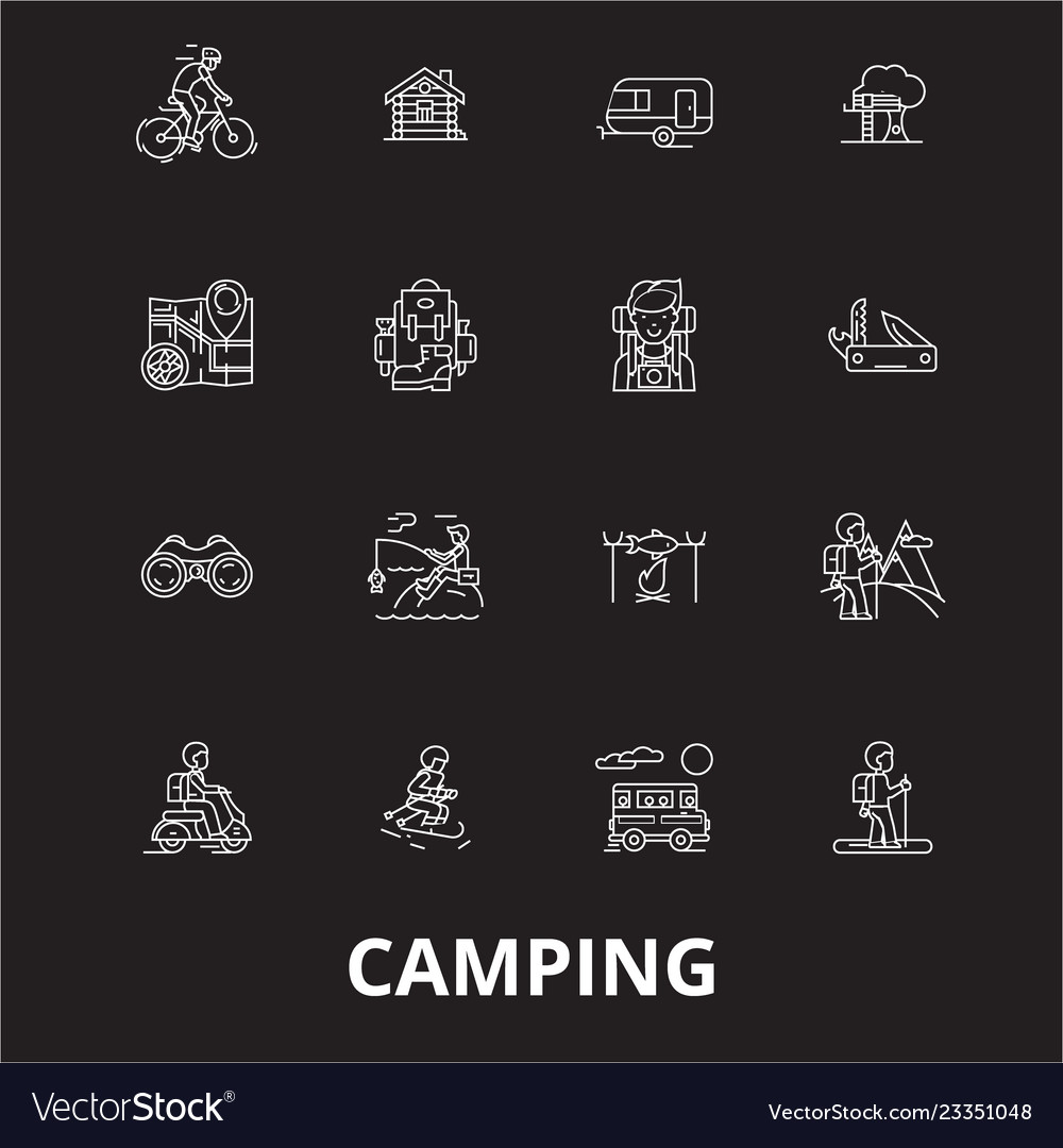 Camping editable line icons set on black