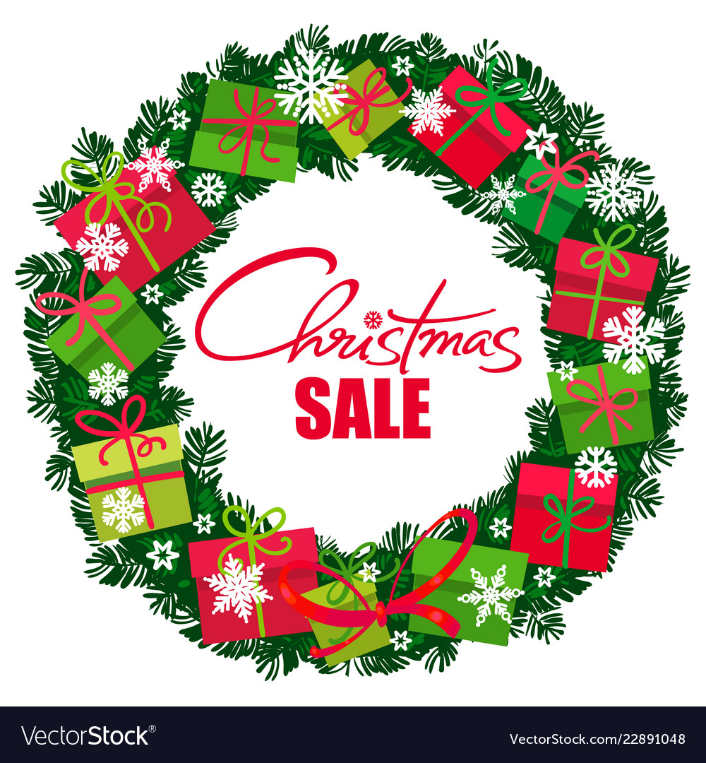 Christmas sale poster wreath with gift boxes and