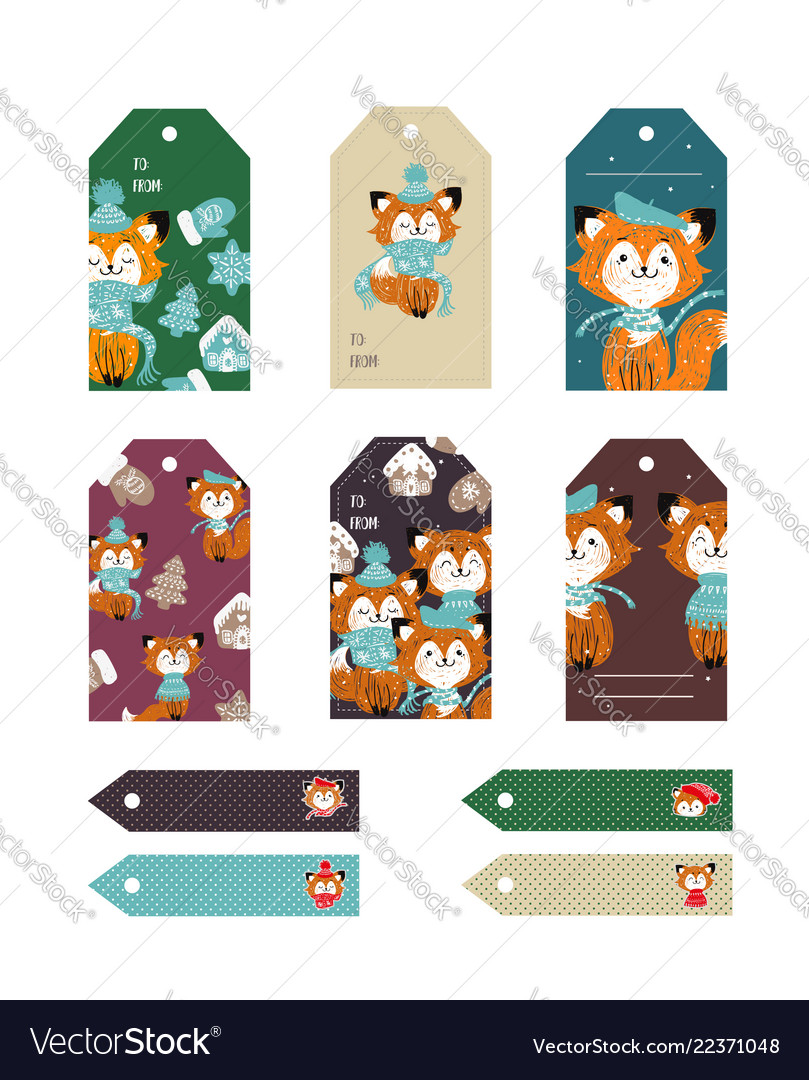 Christmas tags cute collection set of labels