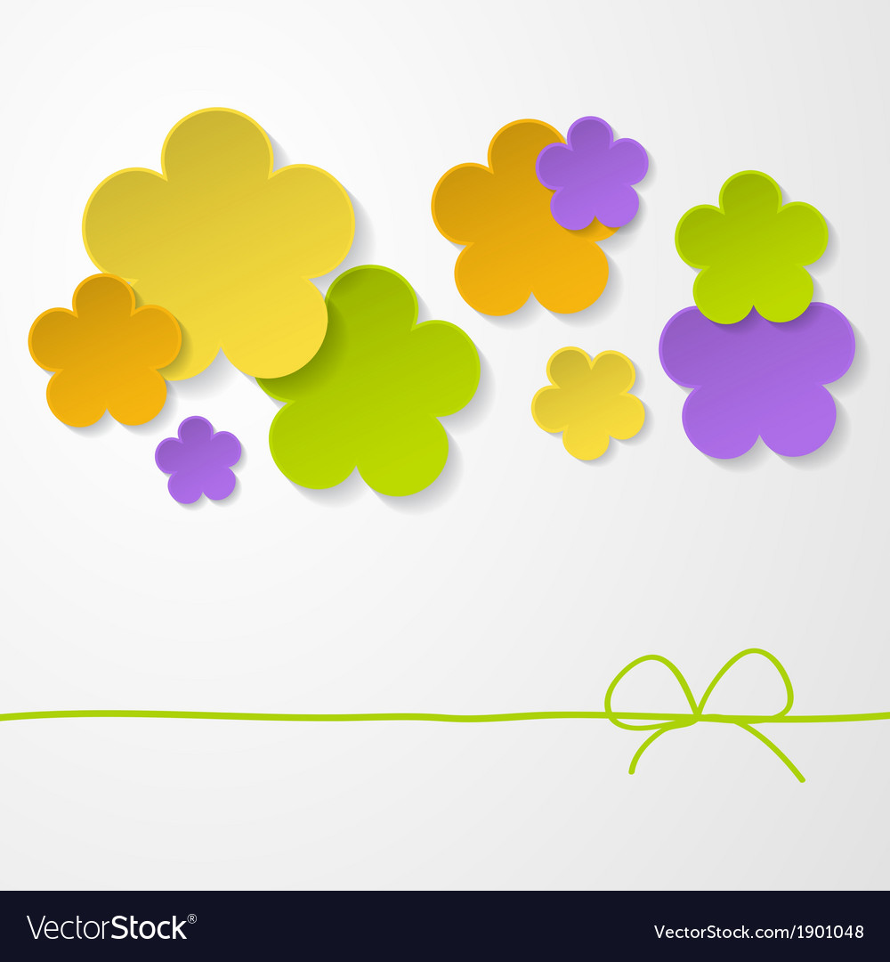Color Paper Flowers On The White Background Vector Image