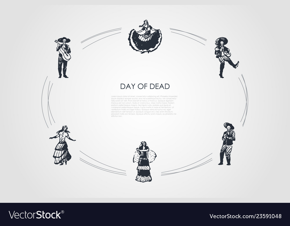 Day of dead - skeletons of dead people in costumes