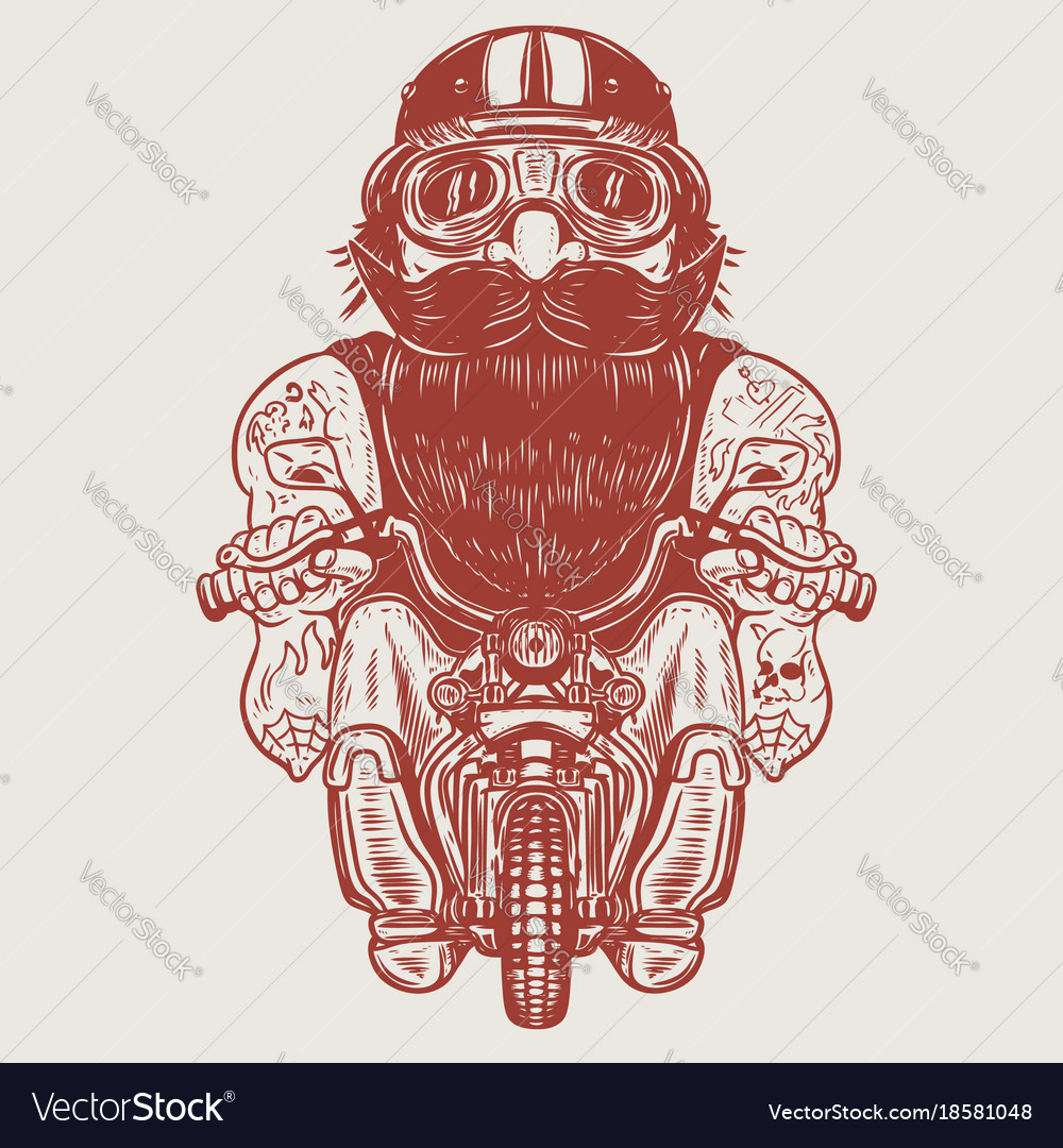 Funny biker caricature racer on little motorcycle