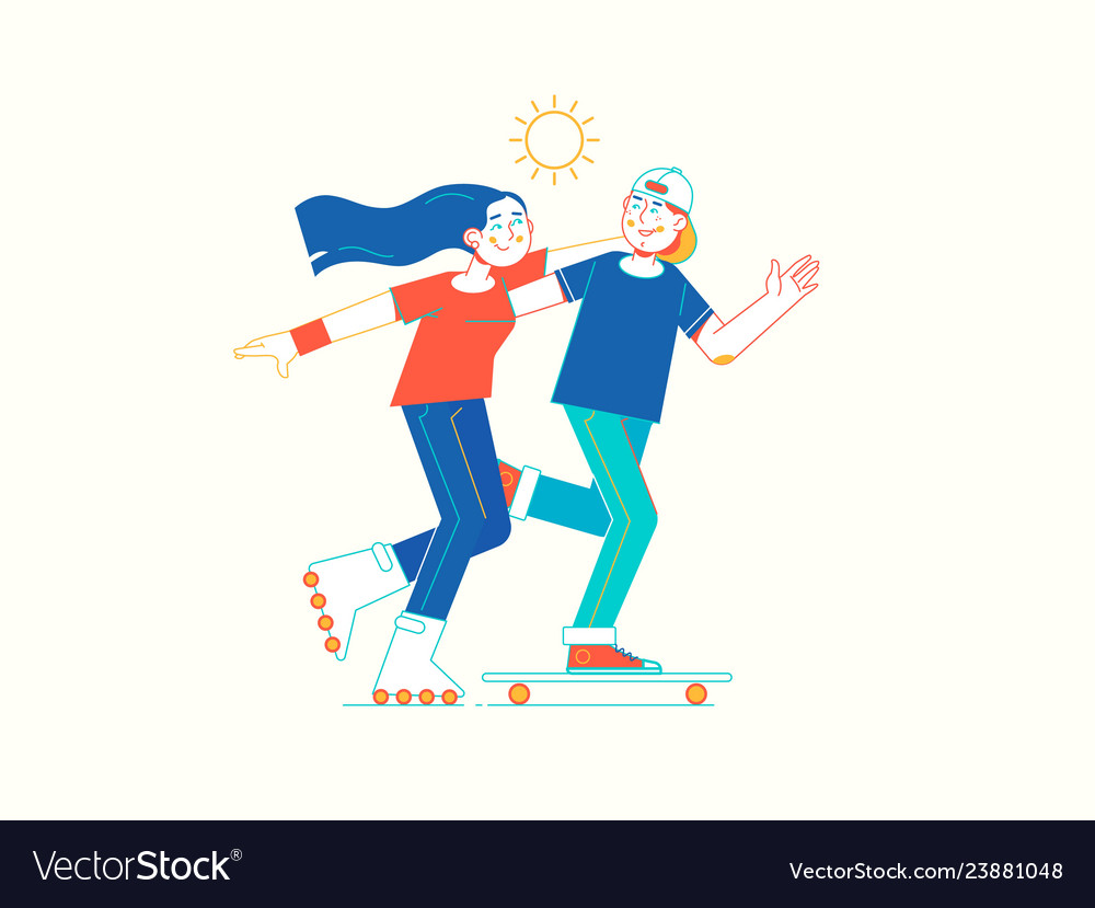 Girl on rollerblades and boy on skateboard in
