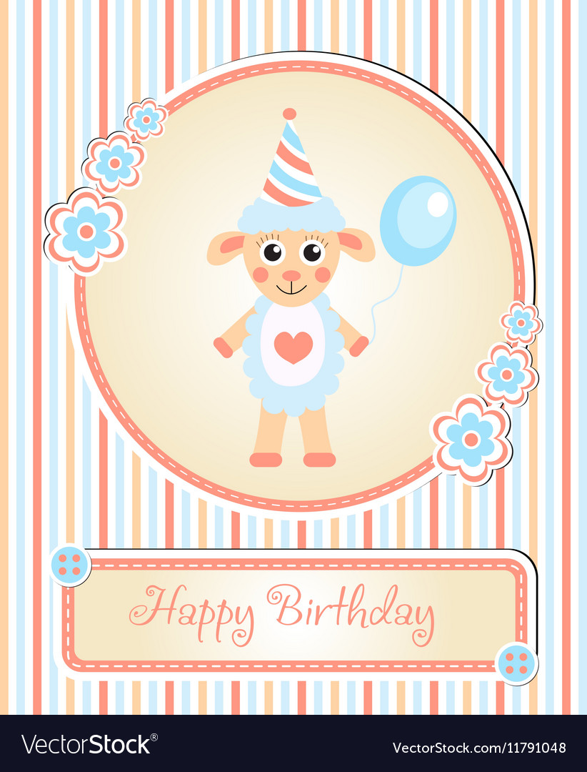 Greeting template cute children s birthday party vector image