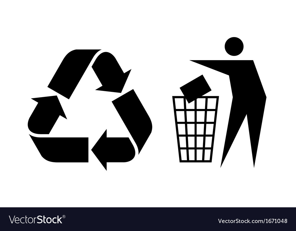 litter and recycle sign royalty free vector image