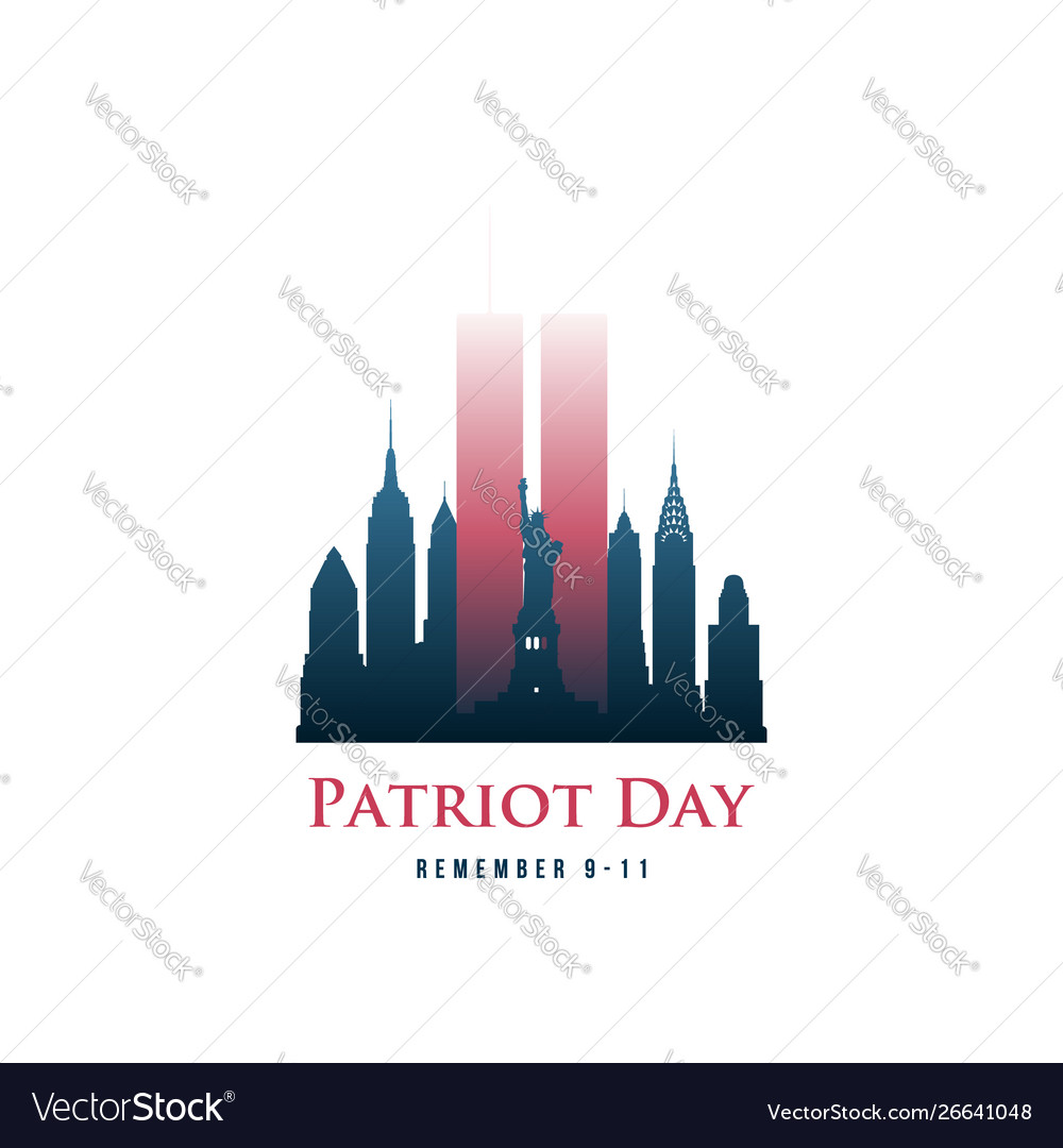 Patriot day card with twin towers