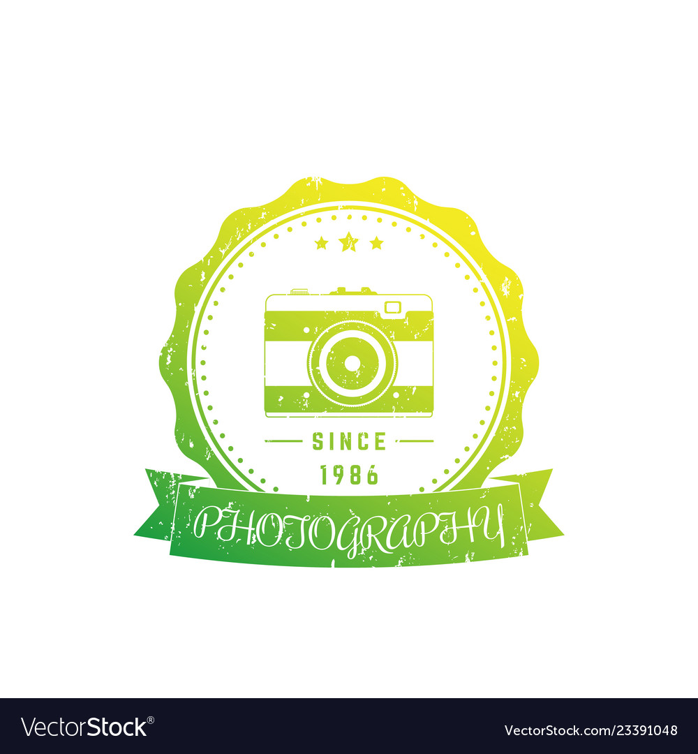 Photography logo badge with vintage camera