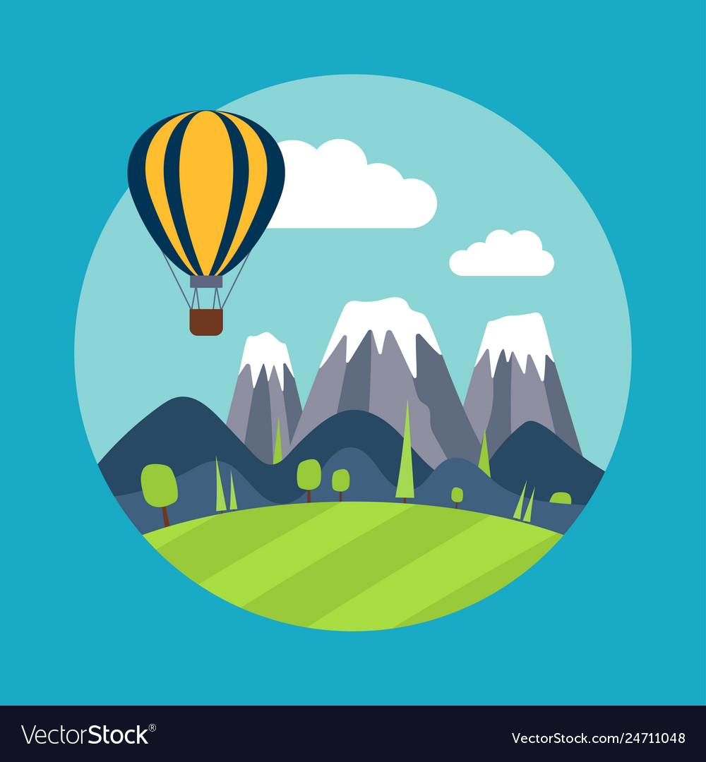 Print with mountains and balloon
