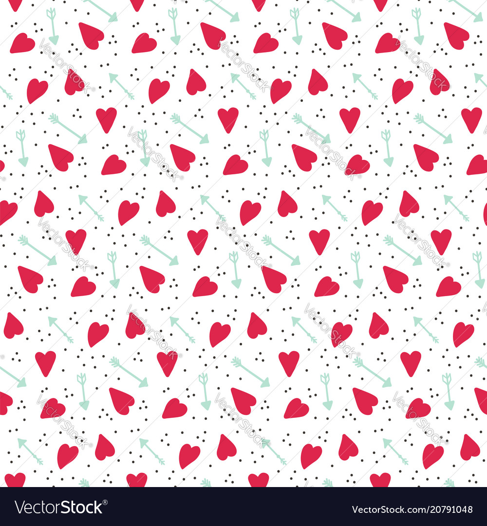 Romantic seamless pattern with hearts and arrows