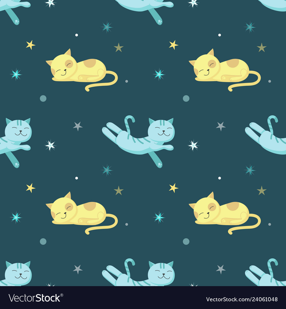 Seamless pattern with cute sleeping cats