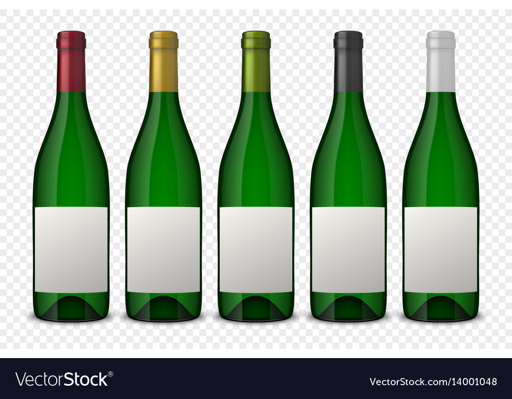 Set 5 realistic green bottles of wine with