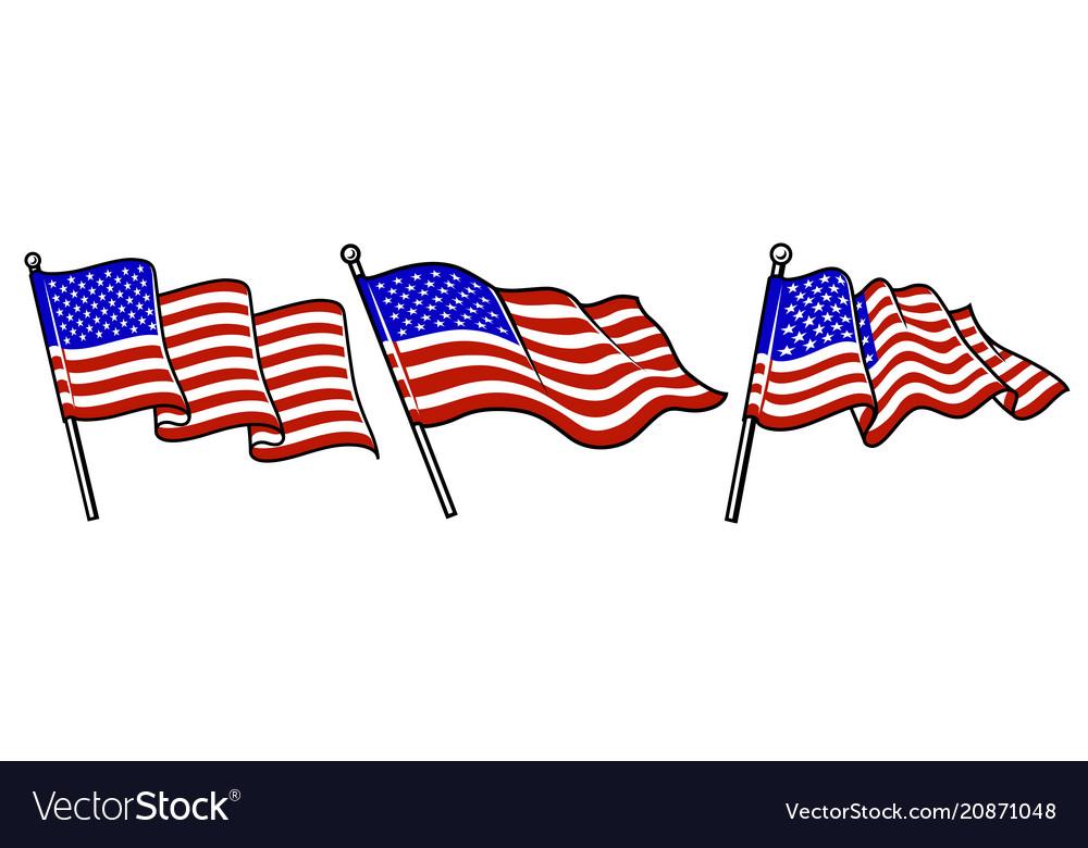Set of waving usa flags