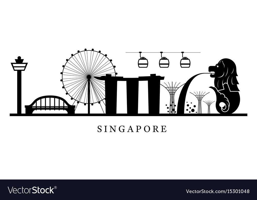 Singapore landmarks skyline in black and white