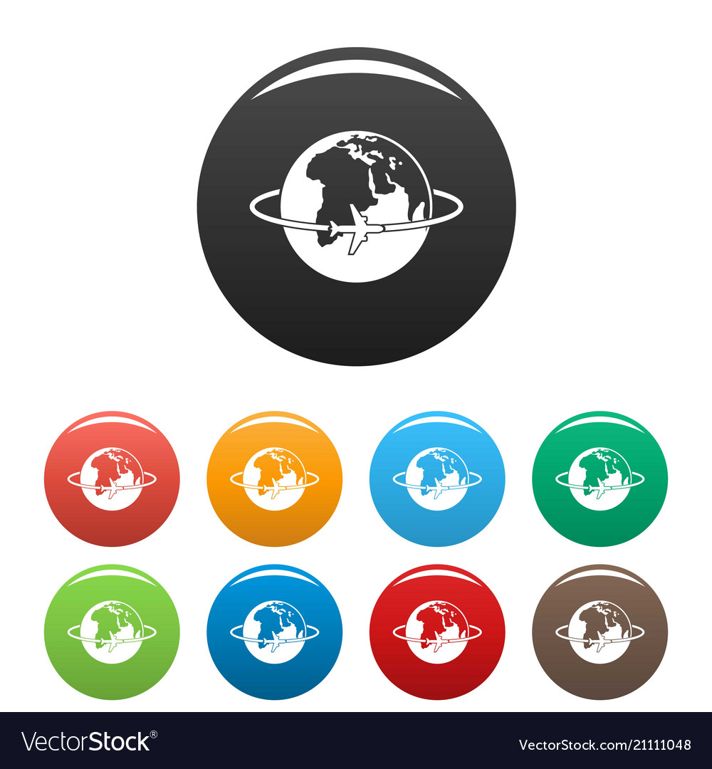 Worldwide icons set color vector image