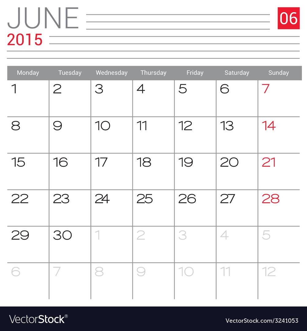 June 2015 Calendar Pdf