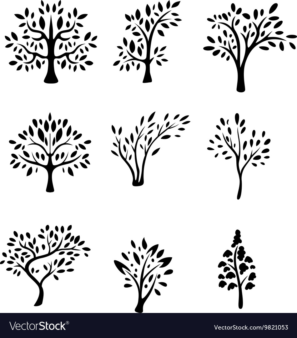 Collection black tree silhouette