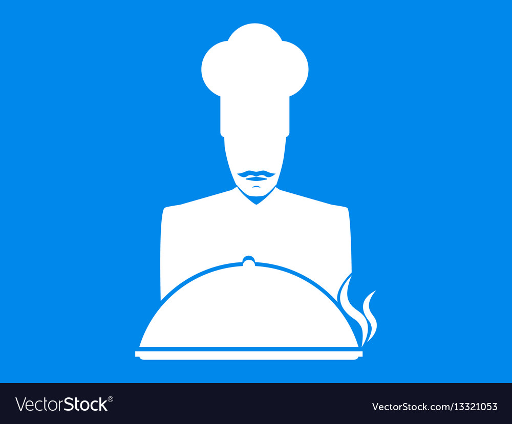 Cook mustachioed chef with a dish icon