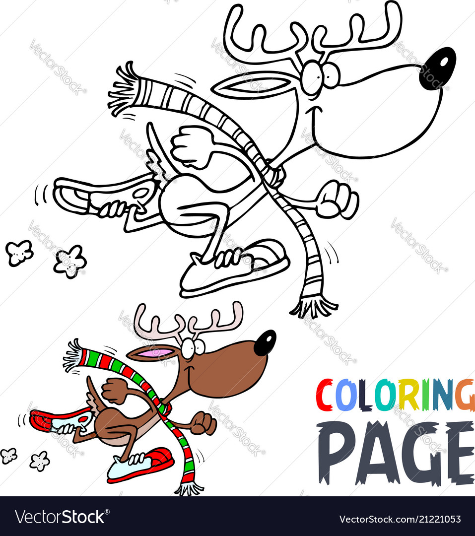 Deer cartoon coloring page