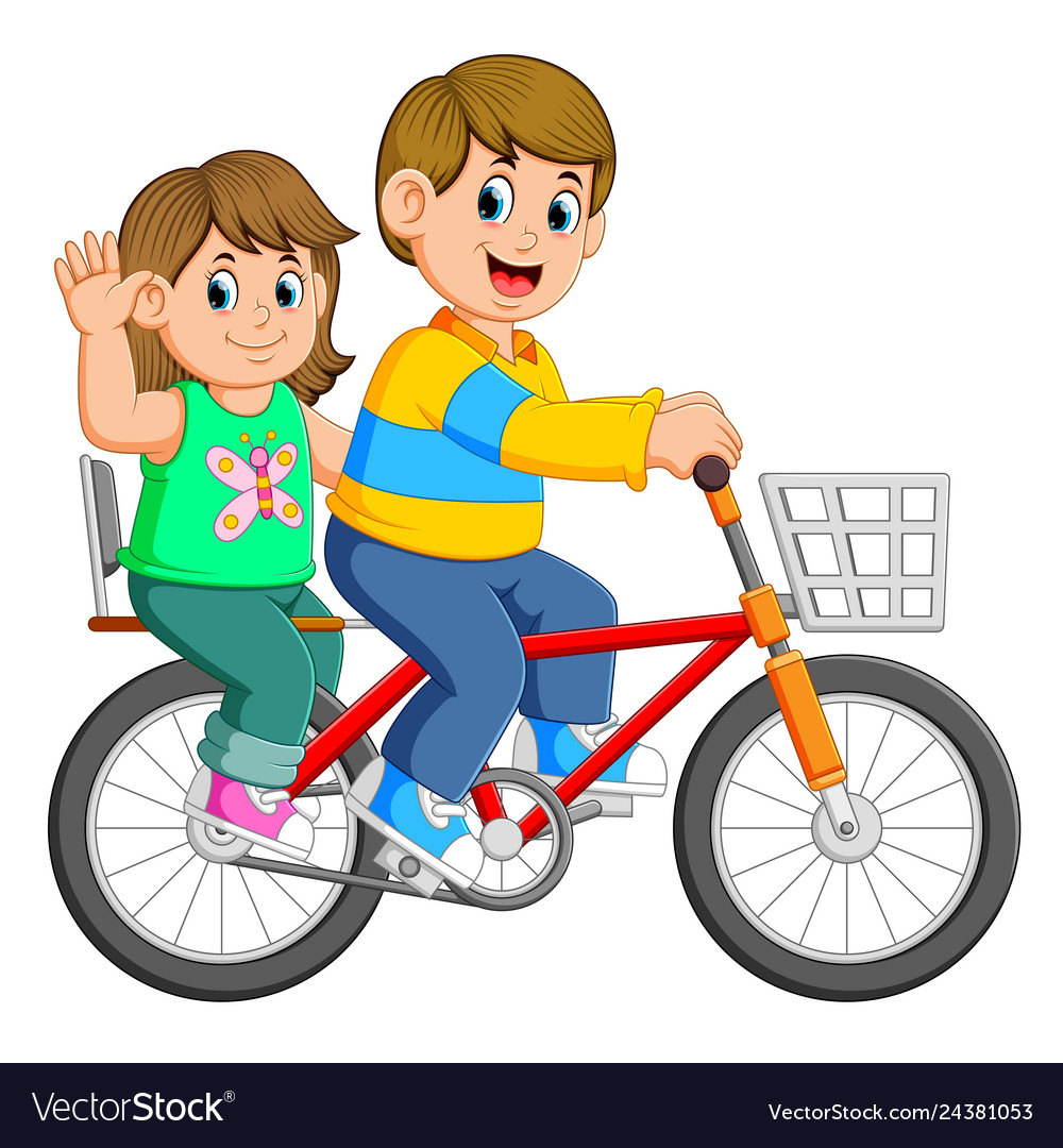 Happy couple riding a bicycle