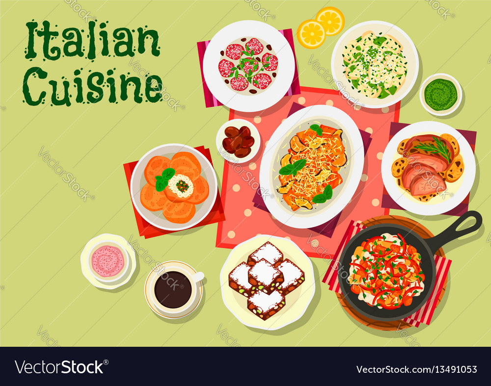 Italian cuisine lunch menu icon for food design