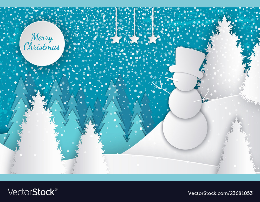 Merry christmas cut out greeting card with winter