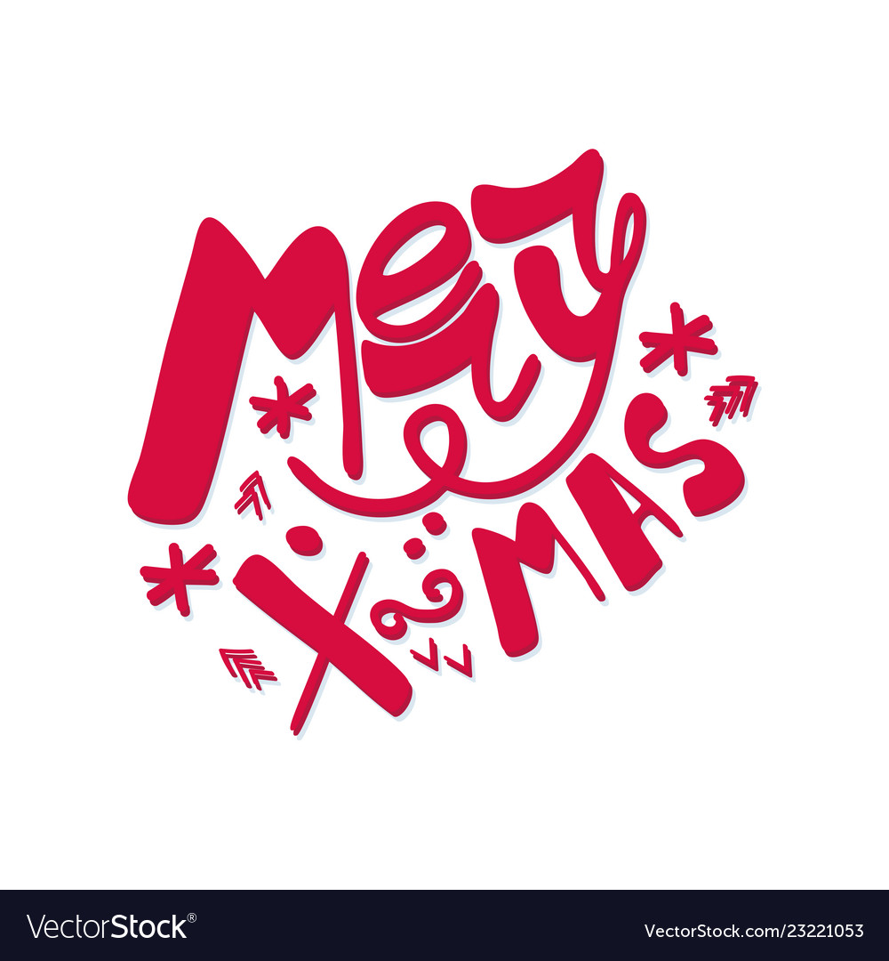 Merry christmas hand lettering isolated on white