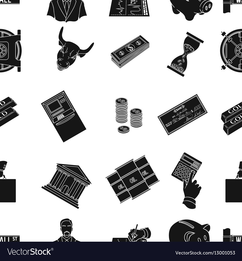 Money and finance pattern icons in black style