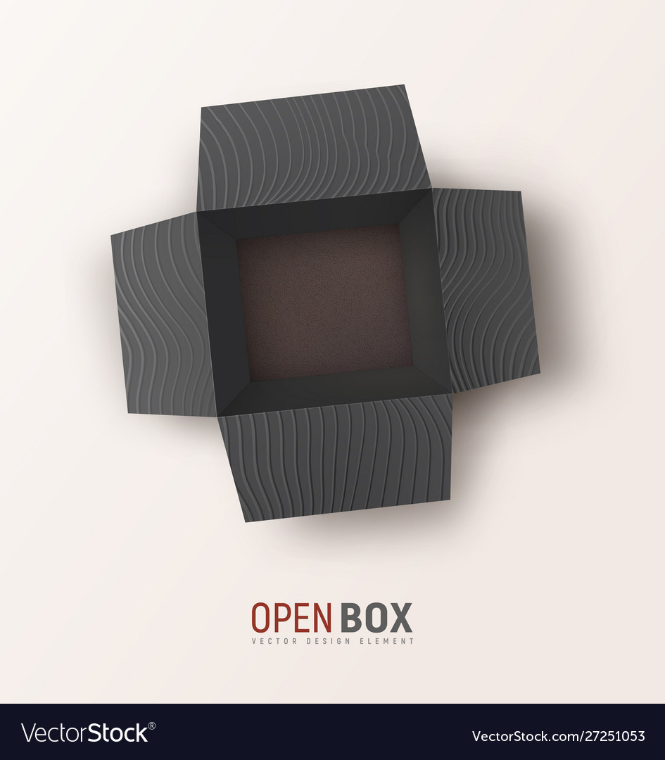 Open black textured gift box on light background