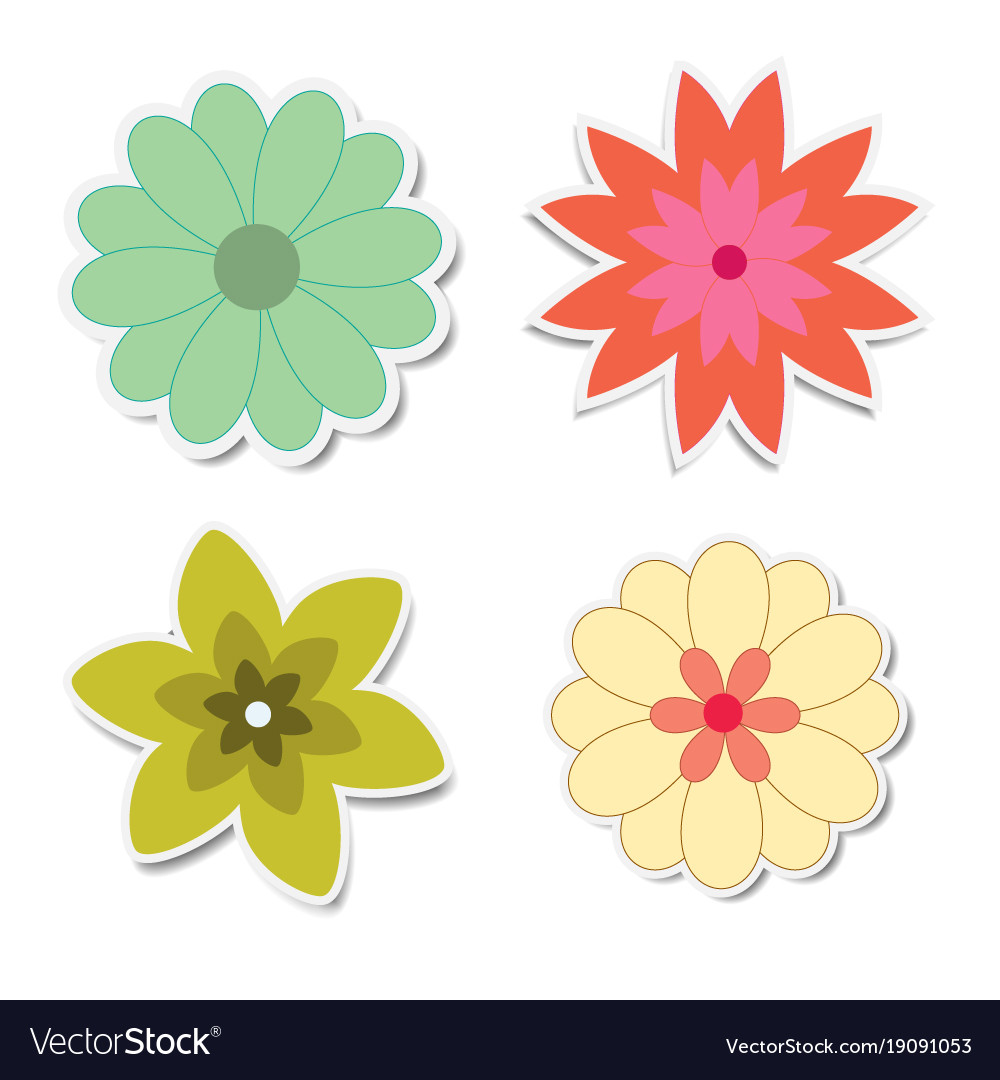 Retro flower stickers with shadows vector image