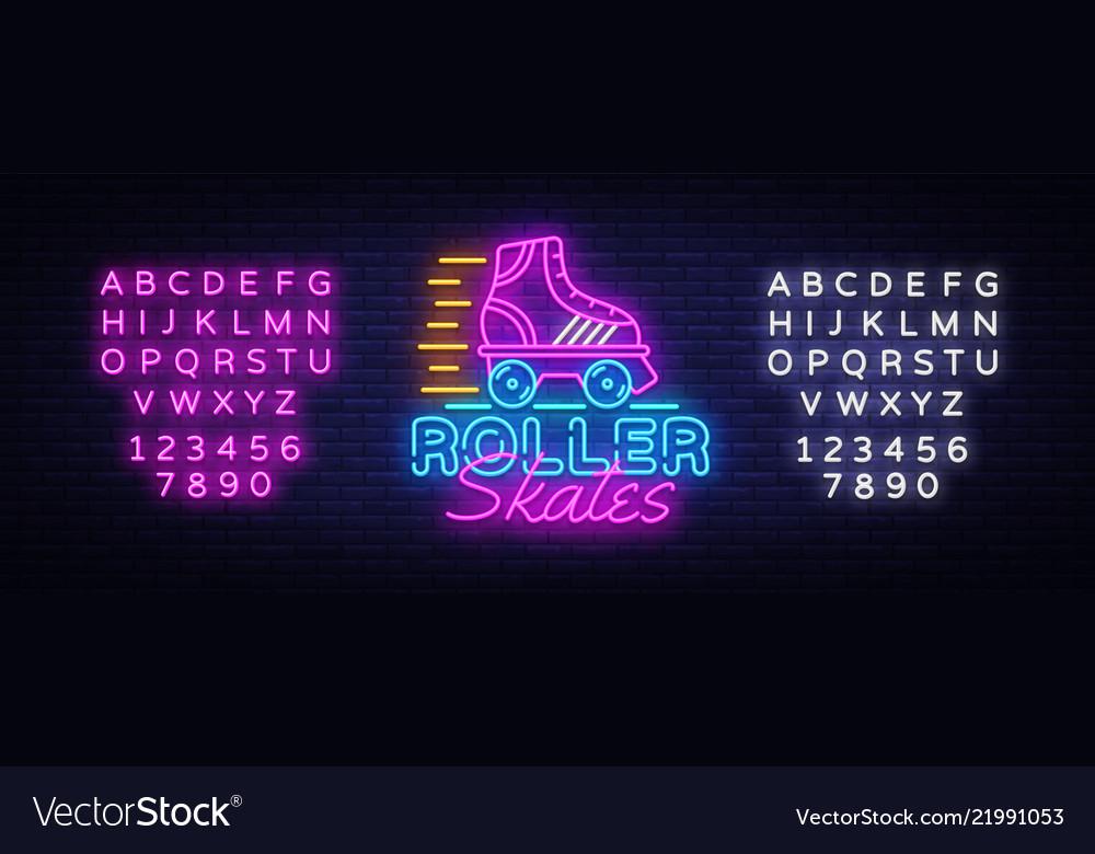 Roller skates neon sign retro quad roller