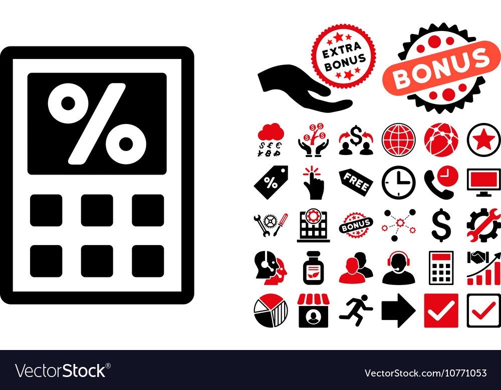 Tax calculator pictograph with bonus lovely pictograms. Vector.