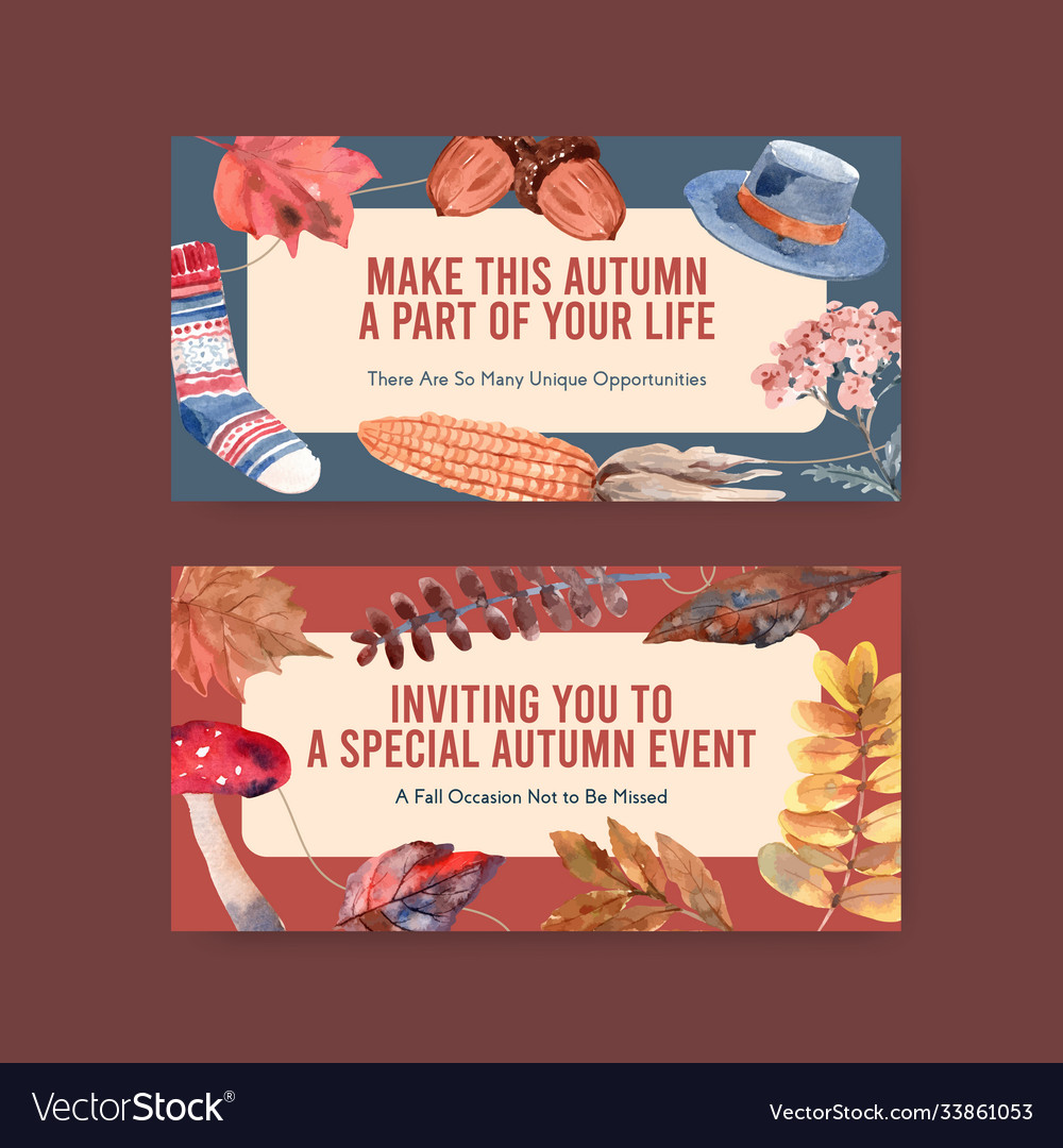 Twitter template with autumn daily concept design