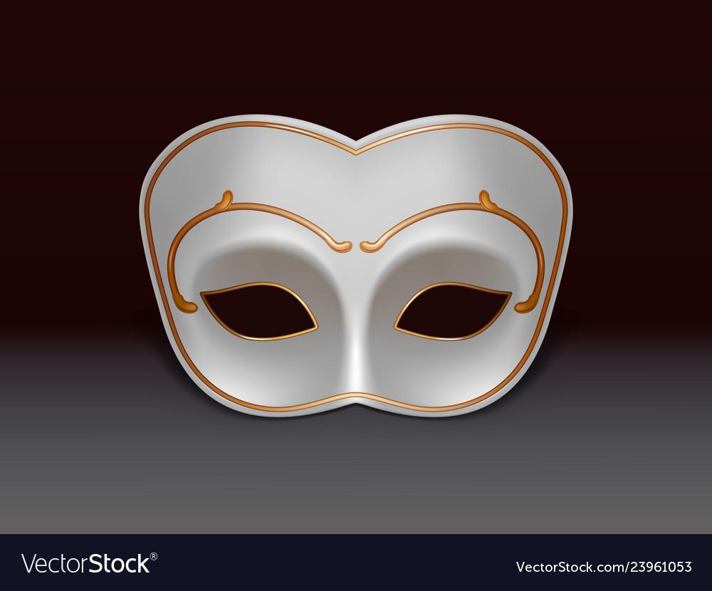 White colombina mask 3d realistic icon