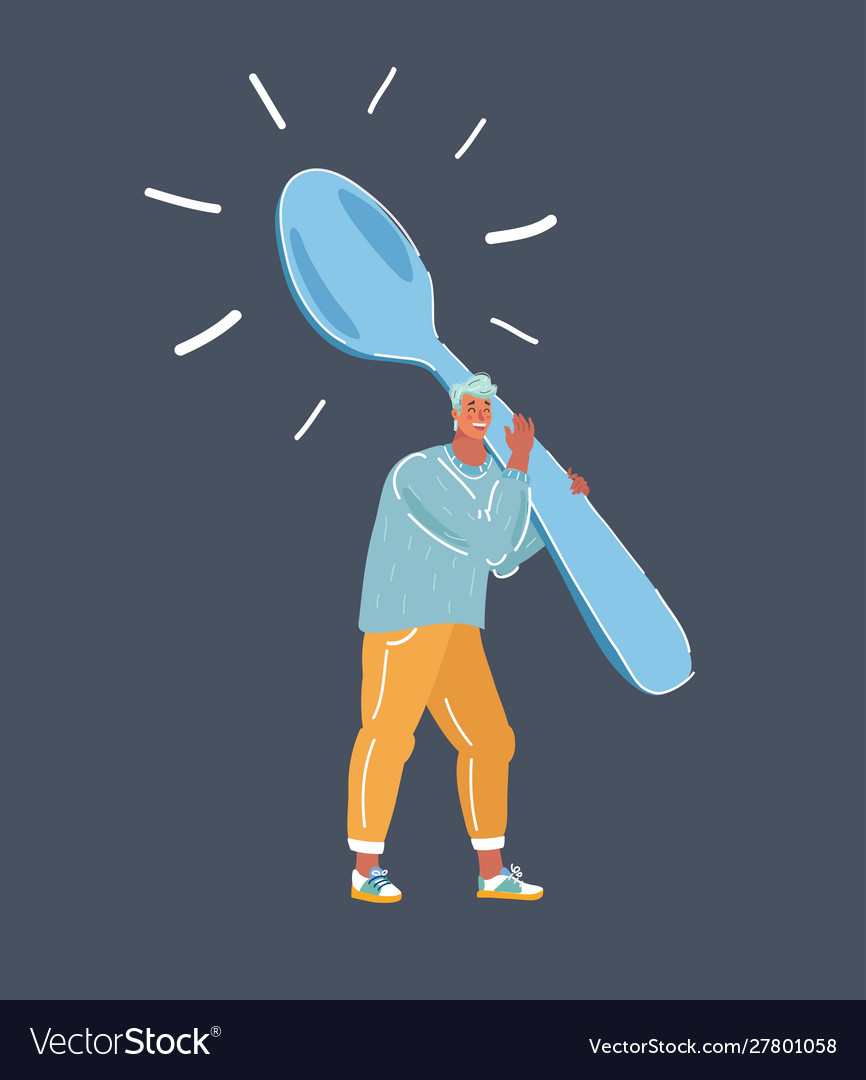 Angry hungry man with spoon and fork- cartoon
