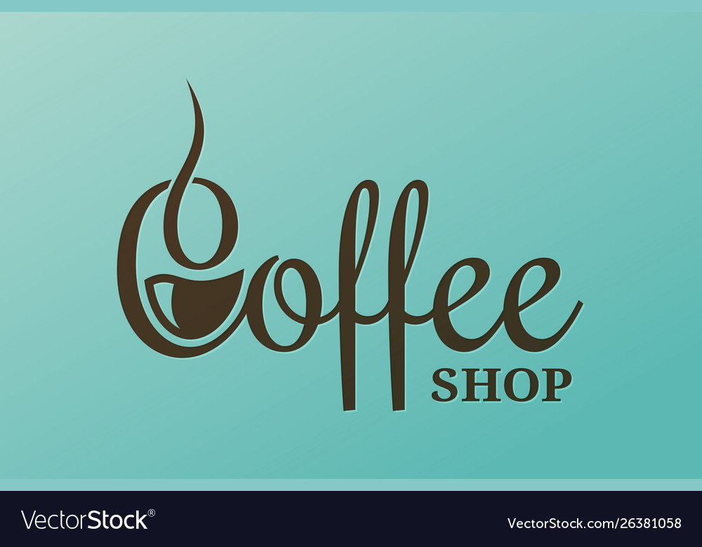 Coffee lettering design cup coffee logo