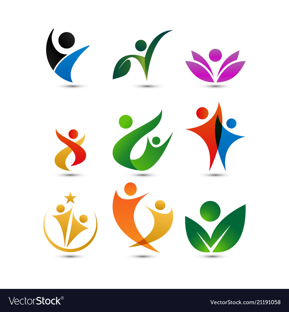 Collection of wellness people logo design template