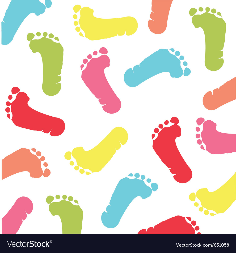 Colorful baby footprint
