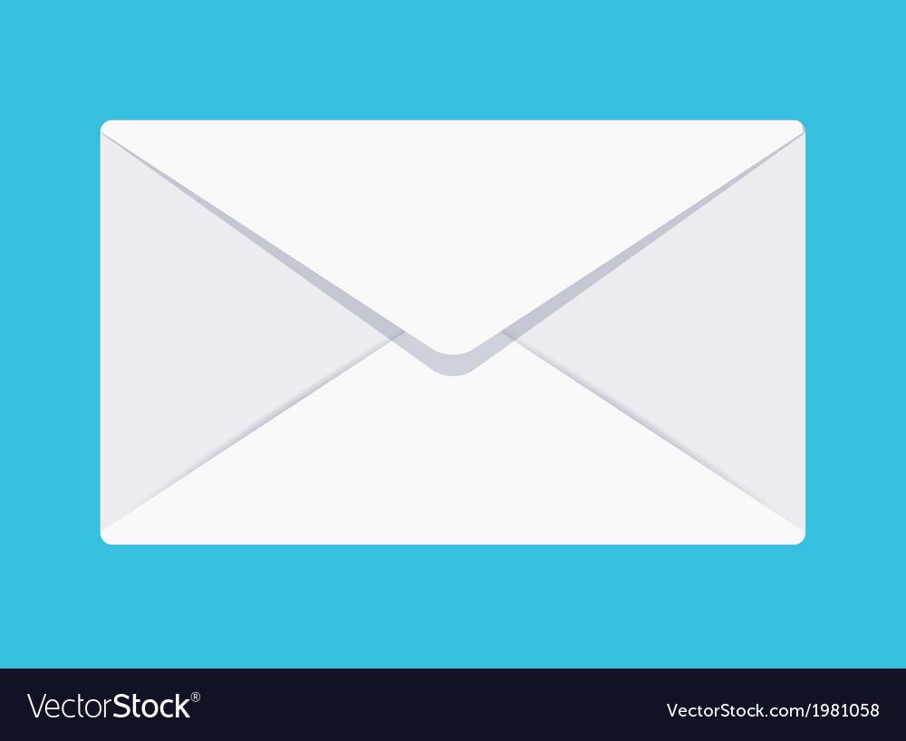 Flat envelope icon on blue background