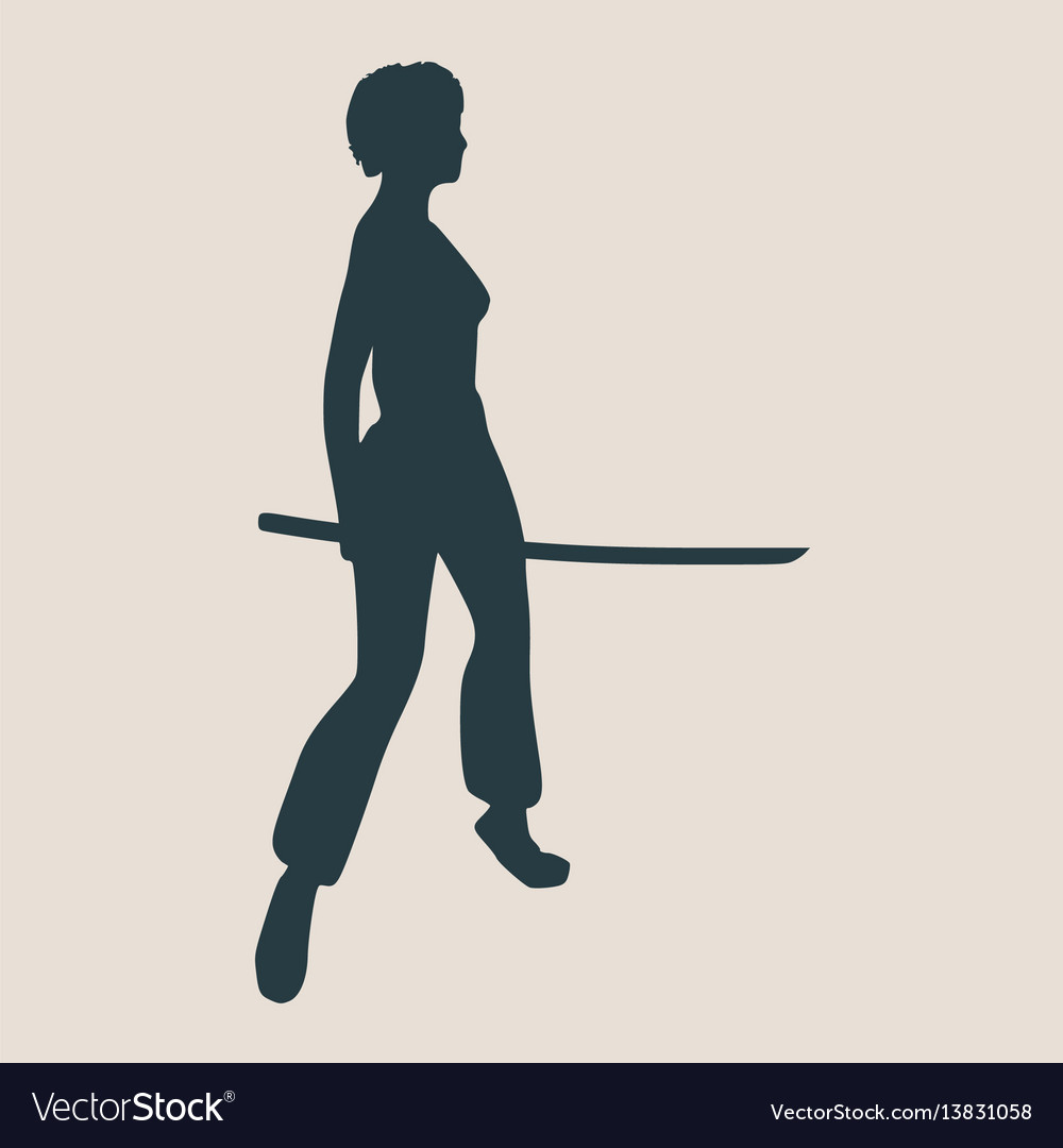 Karate martial art silhouette of woman with sword