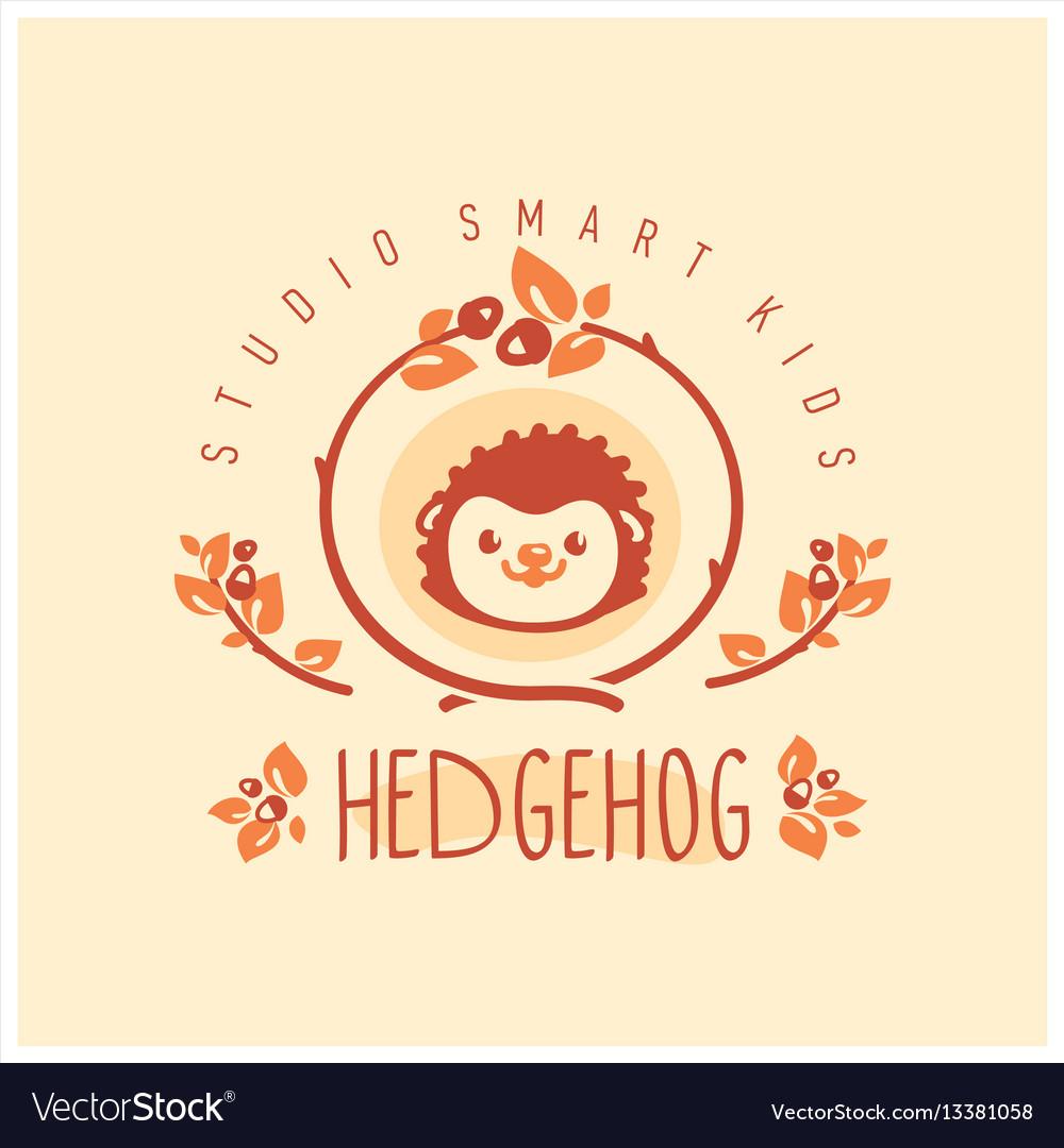 Kids club logo with hedgehog cute kindergarten