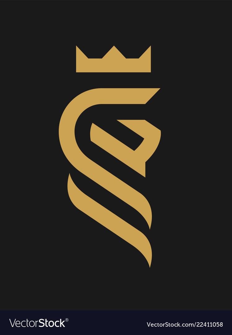 Lion king linear logo symbol on a dark