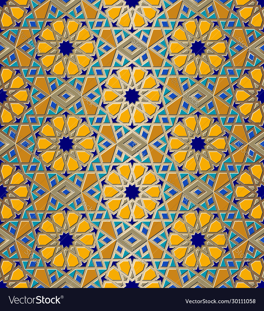 Mosaic seamless pattern with arabic geometric