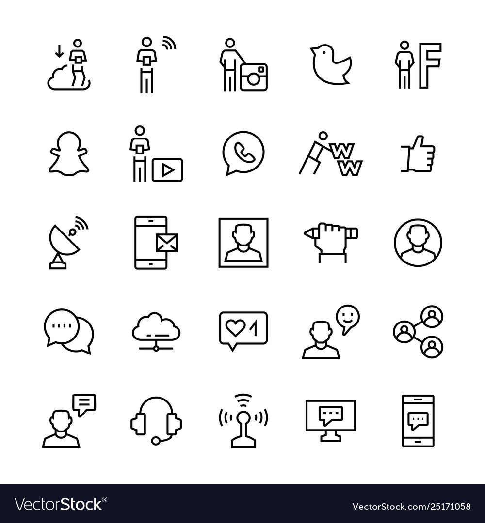 People and social mediacommunication icon set