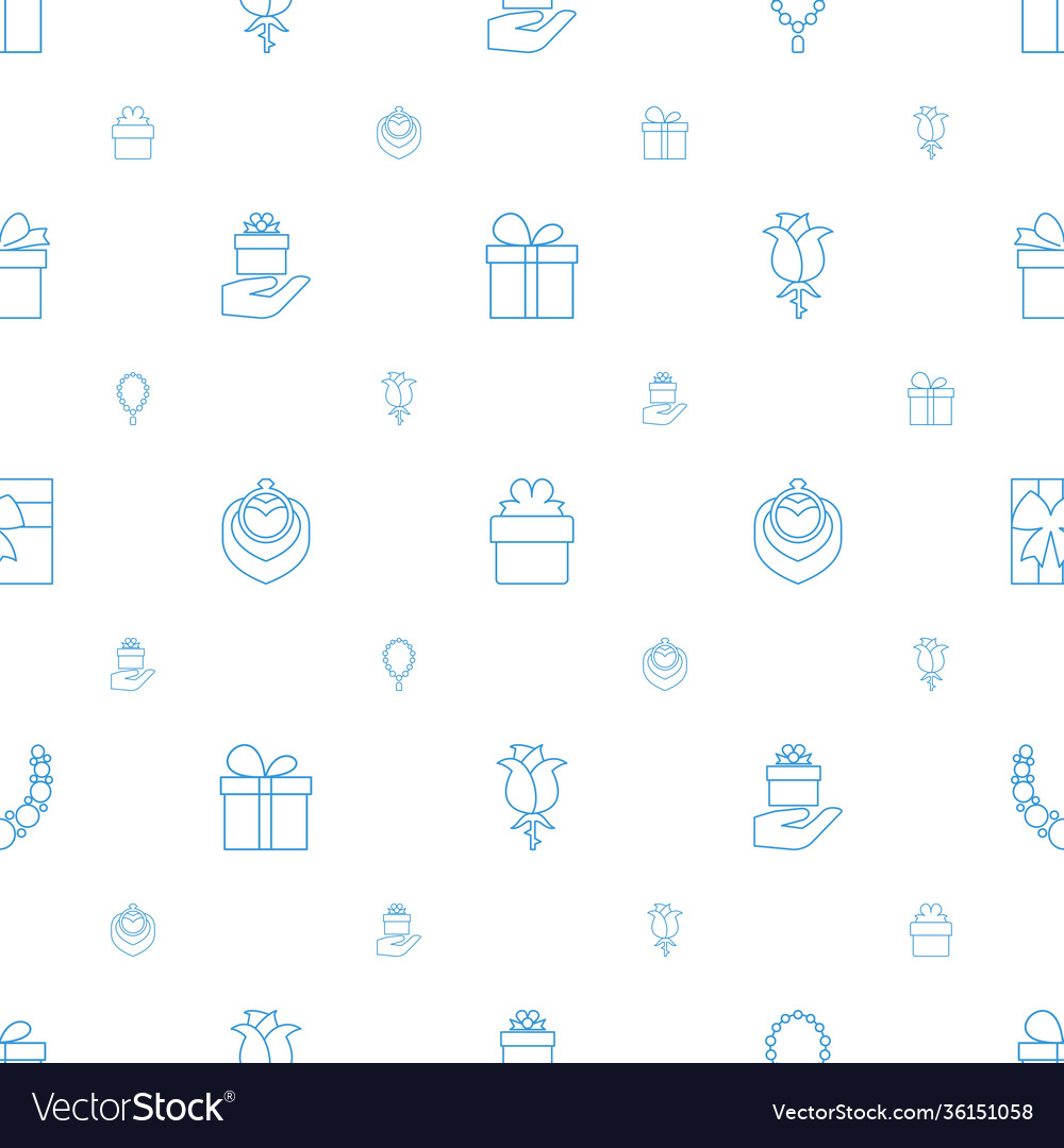 Present icons pattern seamless white background